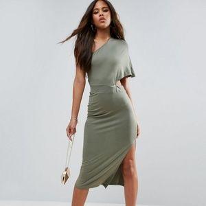 ASOS TALL Deep One Shoulder Midi Bodycon Dress